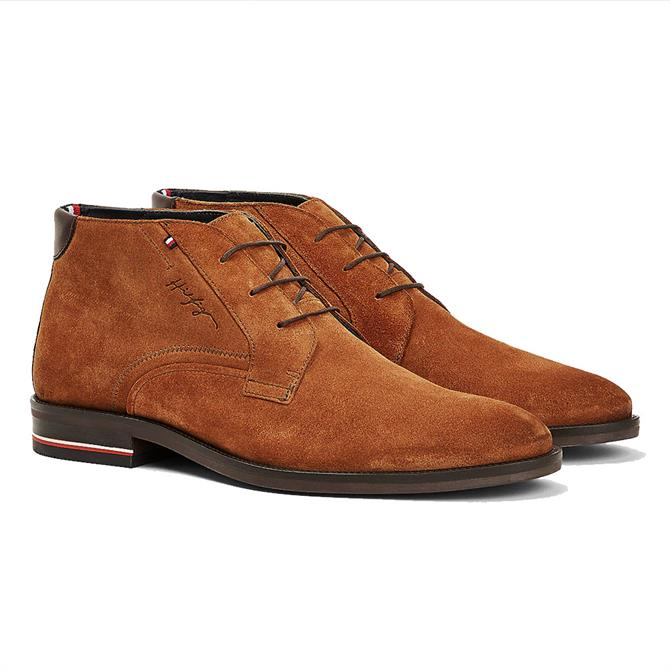Tommy Hilfiger Signature Logo Brown Suede Boots