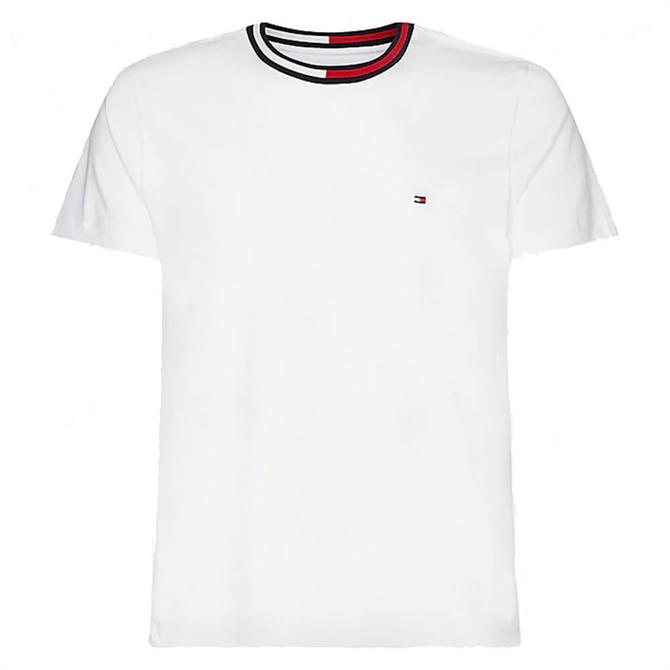 Tommy Hilfiger White TH Cool Contrast Collar T-Shirt