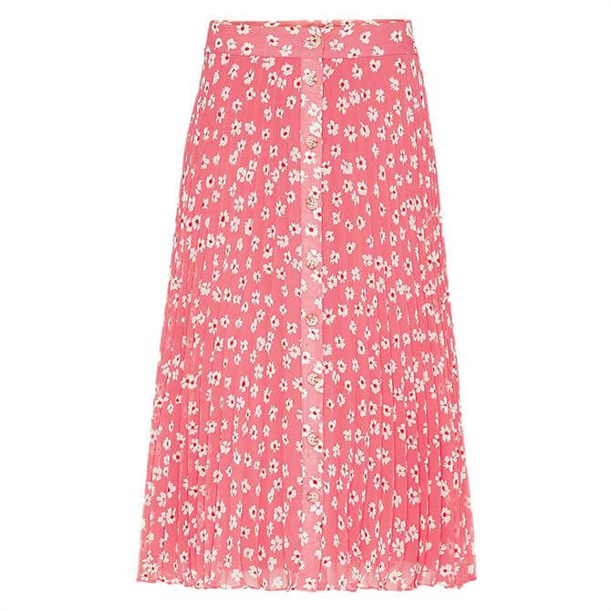 Tommy Jeans Floral Print Pleated Midi Skirt
