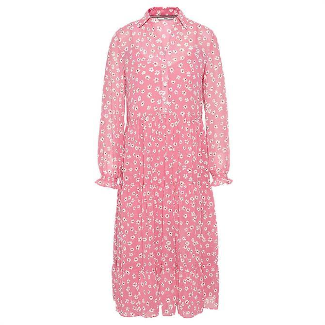 Tommy Jeans Floral Print Ruffle Midi Shirt Dress