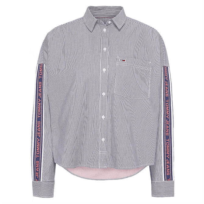 Tommy Jeans Relaxed Fit Tape Detail Striped Shirt