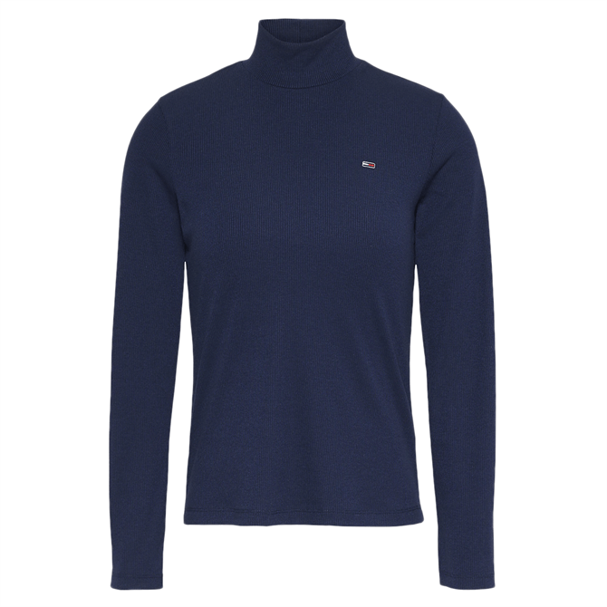 Tommy Jeans Rib-Knit Long Sleeved Turtle Neck Top
