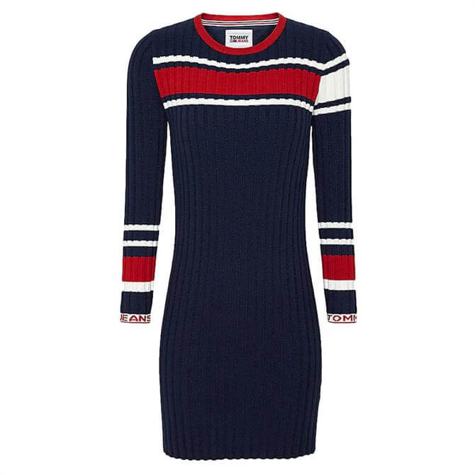 Tommy Jeans Ribbed Texture Stripe Jumper Dress
