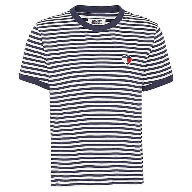 Tommy Jeans Stripe Heart Logo T-Shirt