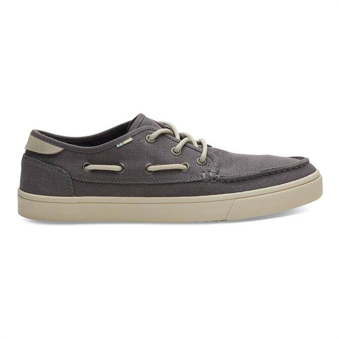 TOMS Grey Canvas Dorado Boat Shoes