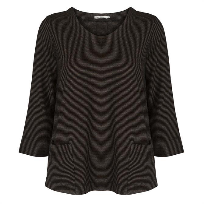 Two Danes Haiam Striped 3/4 Sleeve T-Shirt