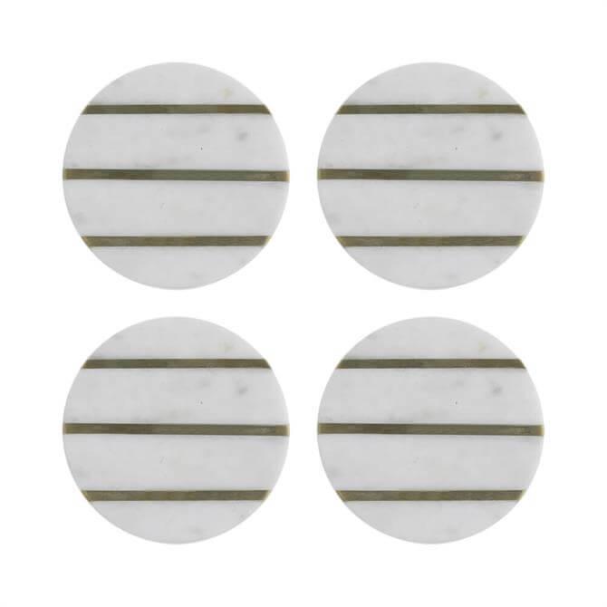 Typhoon Elements Set of 4 Marble/Brass Coasters