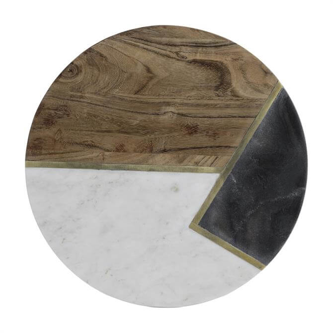 Typhoon Elements Marble/Acacia Round Serving Board