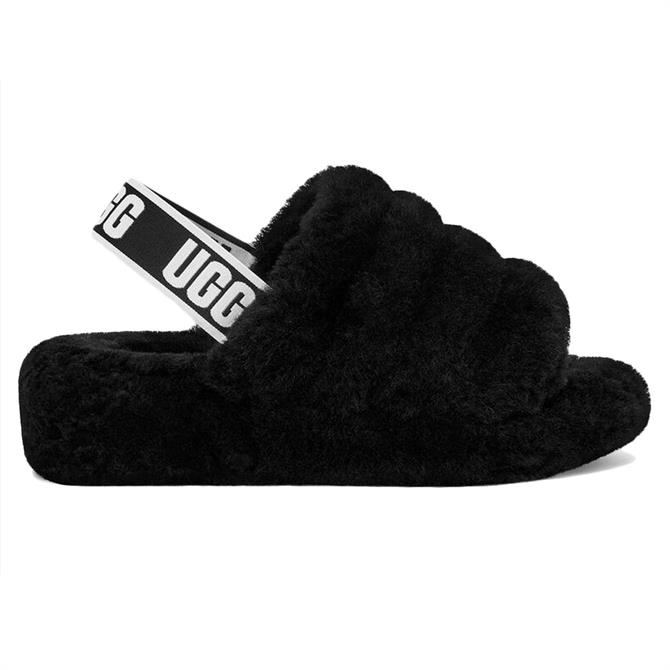UGG Fluff Yeah Black Slide Slippers
