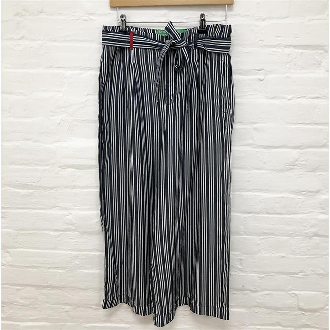 Benetton Cropped Navy Striped Trousers