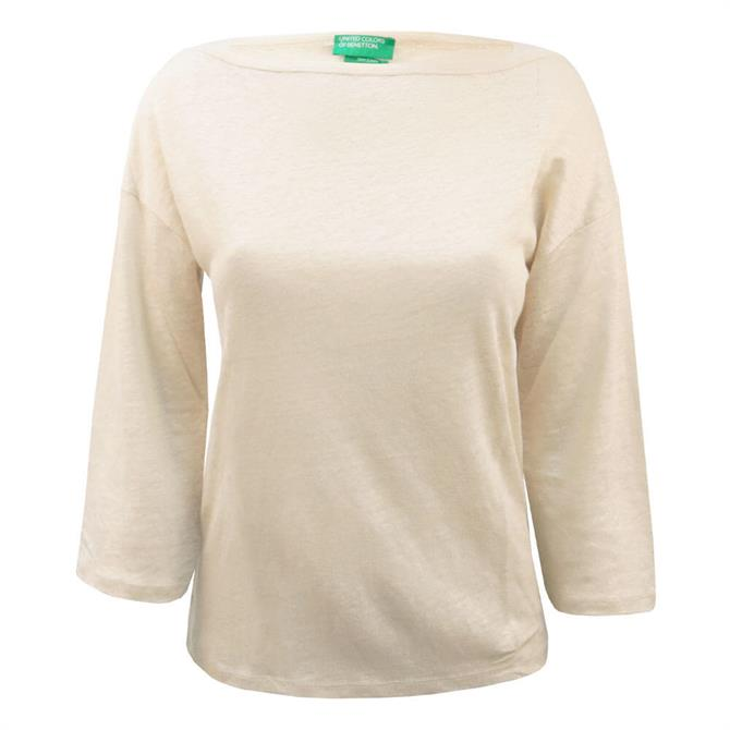 United Colors of Benetton 3/4 Sleeve Linen Top