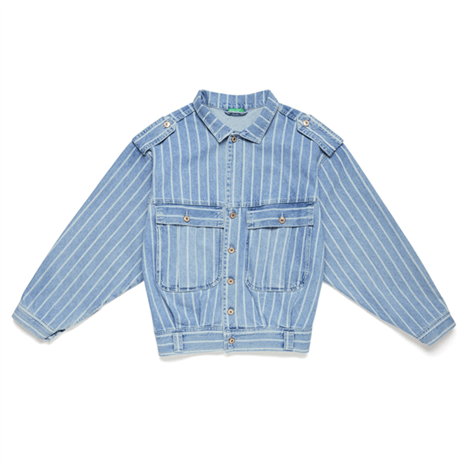 United Colors of Benetton Striped Denim Jacket