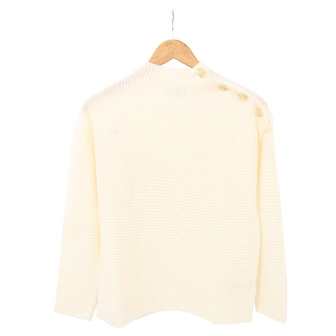 United Colors of Benetton Ribbed Button Neck Wool Blend Sweater