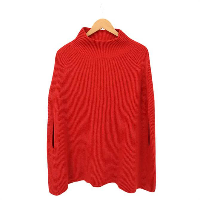 United Colors of Benetton High Neck Ribbed Knitted Poncho