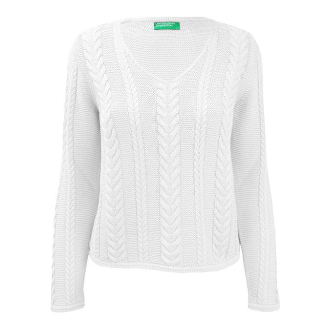 United Colours of Bennetton Cable Knit V-Neck Sweater
