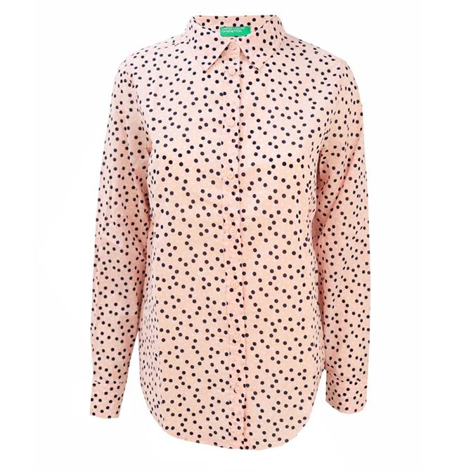 United Colors of Benetton Polka Dot Print Cotton Women's Shirt