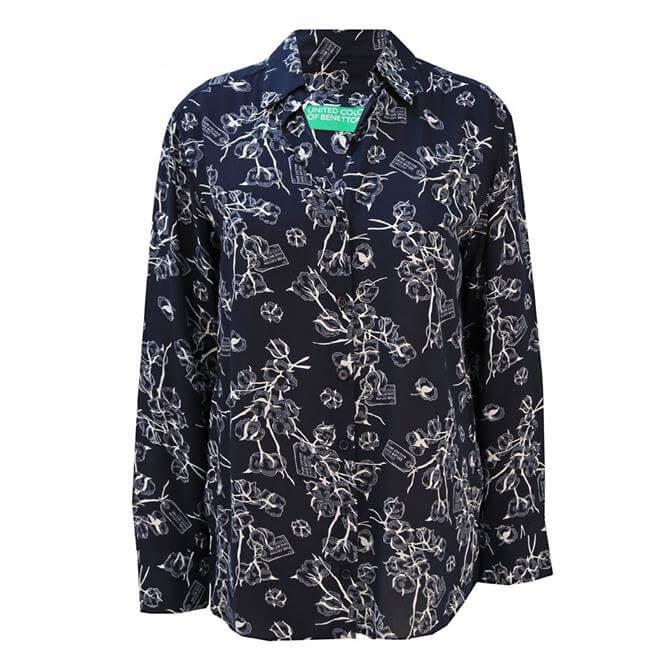 United Colors of Benetton Floral Print Cotton Women's Shirt