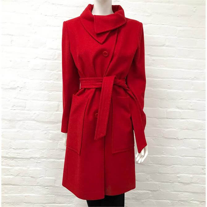 United Colors of Benetton Red Belted Coat