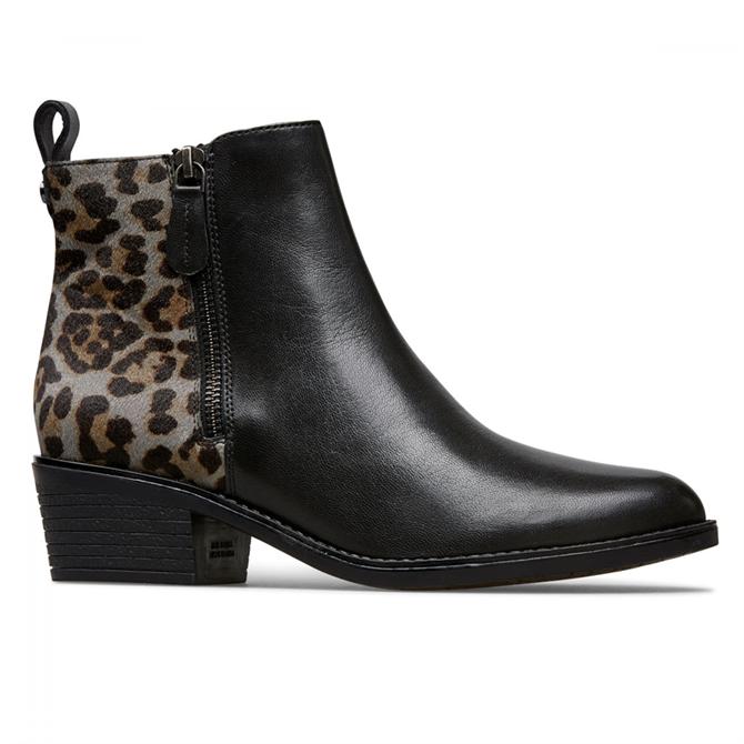 Van Dal Barlow Black Grey Leopard Ankle Boots