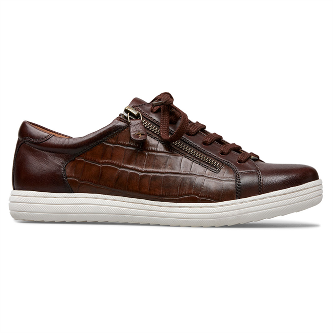 Van Dal Detroit Conker Croc Leather Sneakers