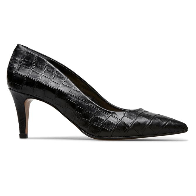 Van Dal Juneau Black Croc Court Shoes