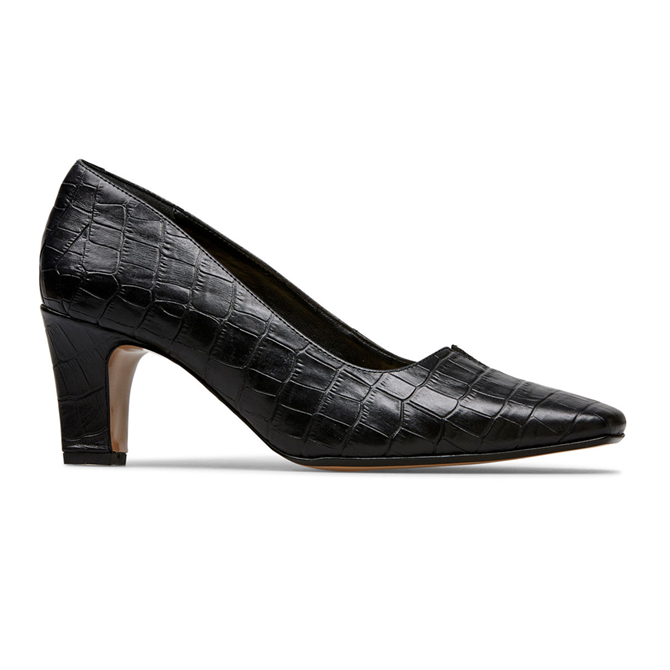 Van Dal Ophelia Black Croc Court Shoes