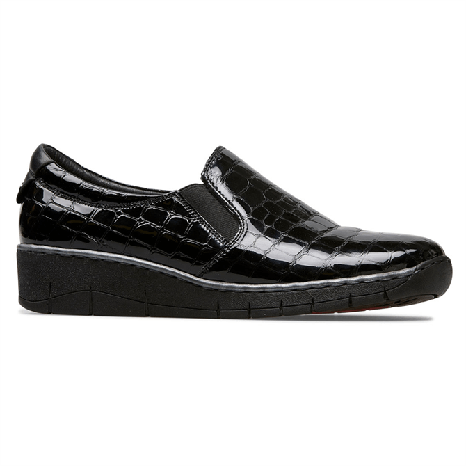 Van Dal Ripple Black Patent Croc Shoes