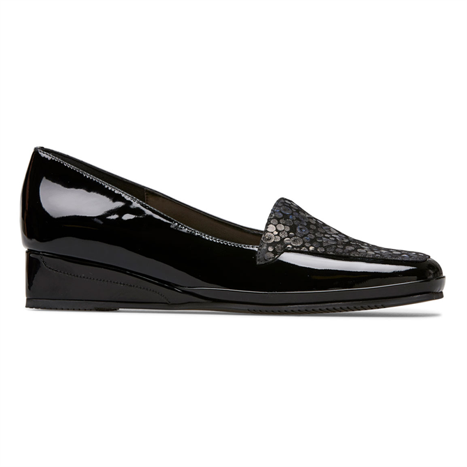 Van Dal Verona Black Patent Sequin Wedge Shoes
