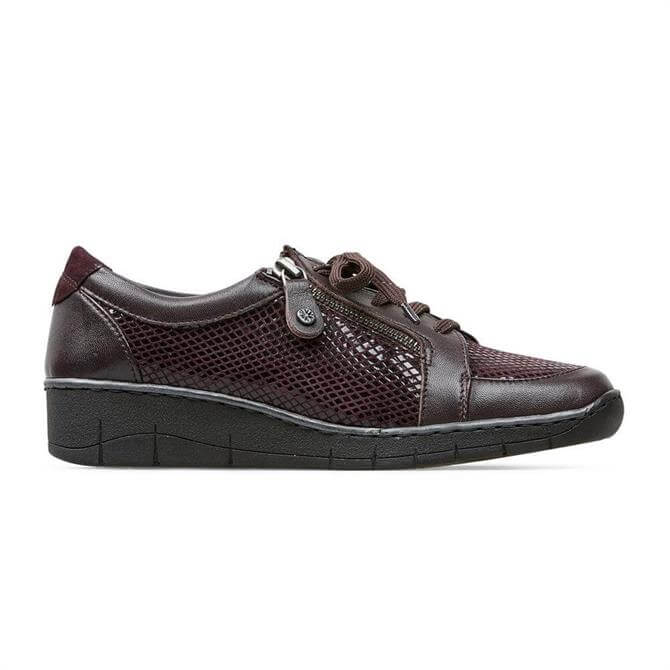 Van Dal Aubrey Casual Python Print Shoes in Damson Red