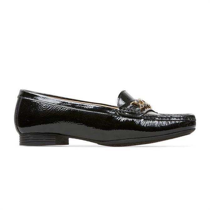 Van Dal Barnham X Black Crinkle Patent Loafers