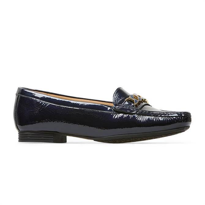 Van Dal Barnham X Midnight Navy Crinkle Patent Loafers