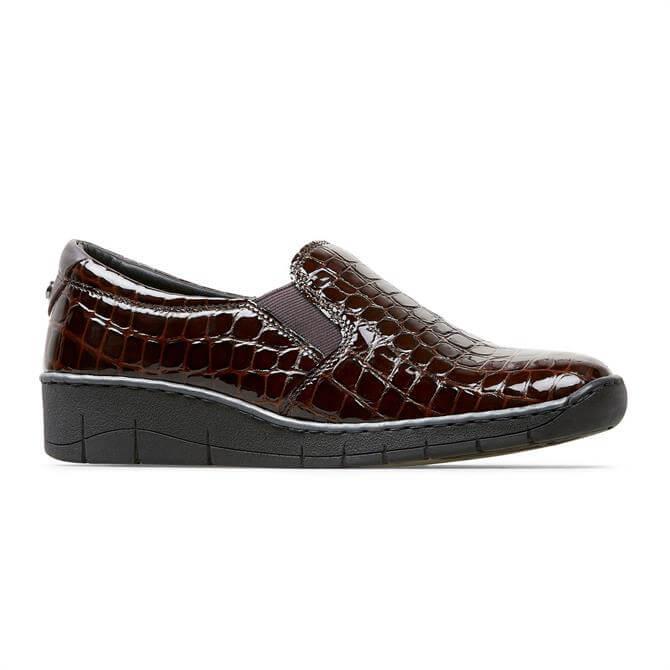 Van Dal Ripple Bordo Croc Effect Slip On Shoes
