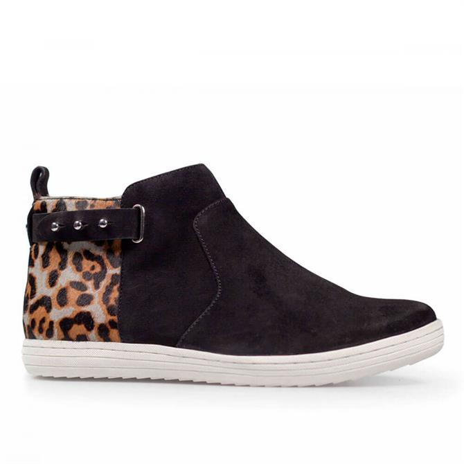 Van Dal Boyd High Top Trainers in Black and Leopard