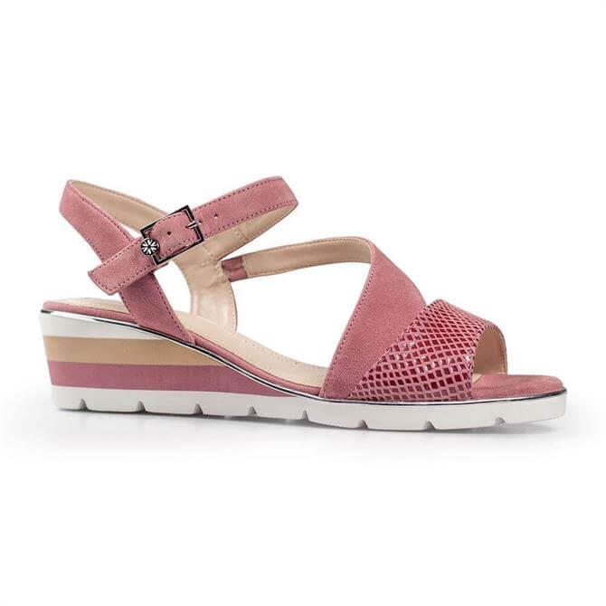 Van Dal Chennai Pink Suede Wedge Sandals