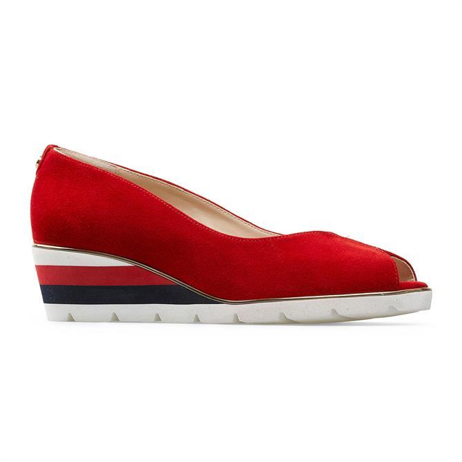 Van Dal Cobham Peep Toe Poppy Red Suede Wedges