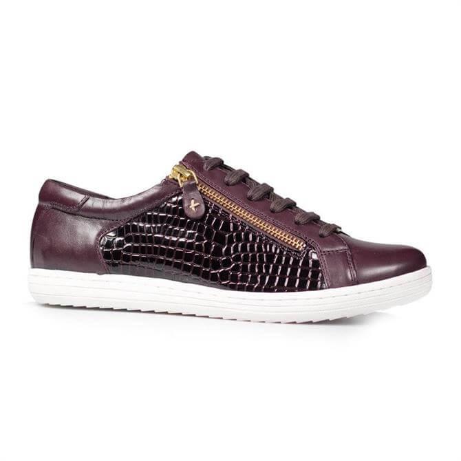 Van Dal Detroit Damson Red Leather Croc Effect Sneakers