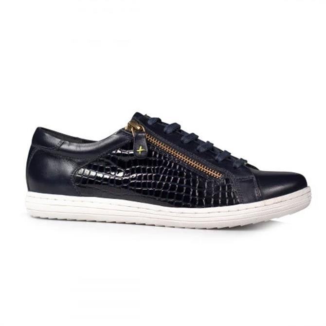 Van Dal Detroit Midnight Navy Leather Croc Effect Sneakers
