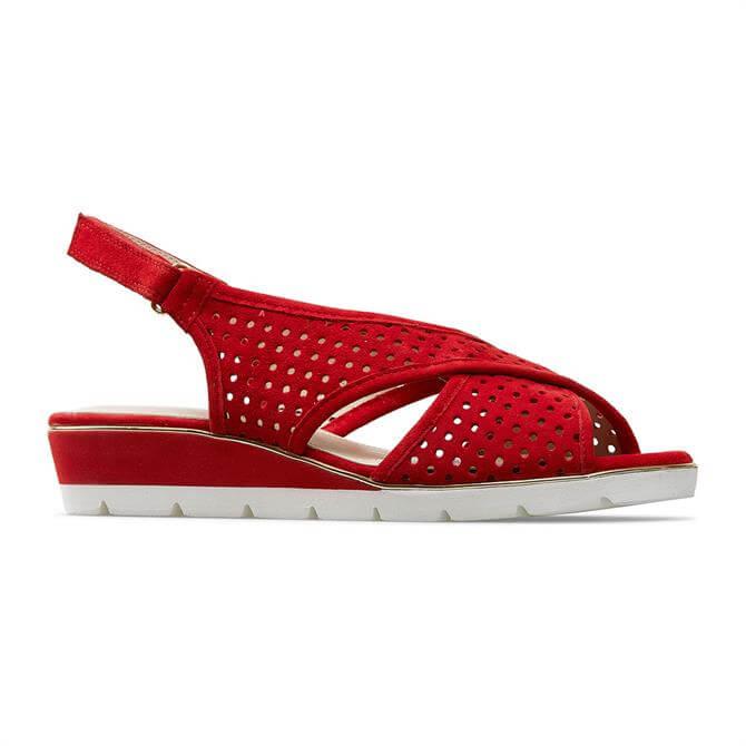 Van Dal Elan Peep Toe Wedge Red Suede Sandal