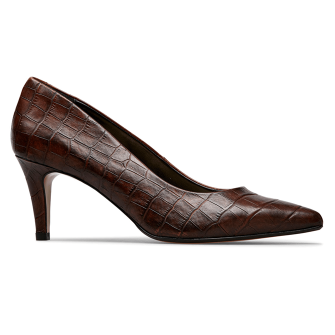 Van Dal Juneau Conker Croc Court Shoes
