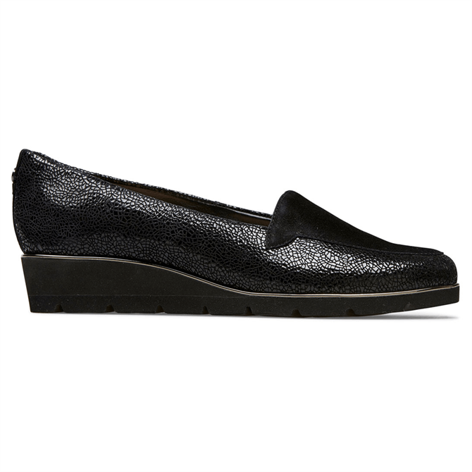 Van Dal Peel Black Crackle Wedges
