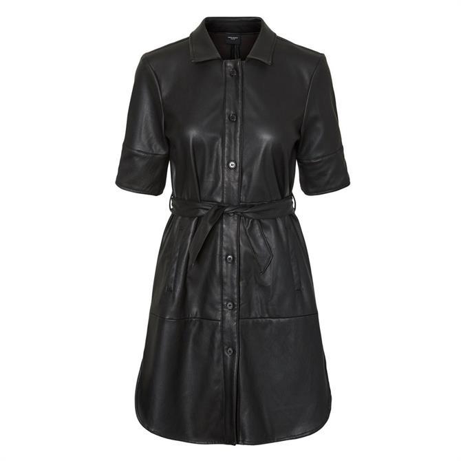 Vero Moda Gwen PU Short Sleeve Shirt Dress