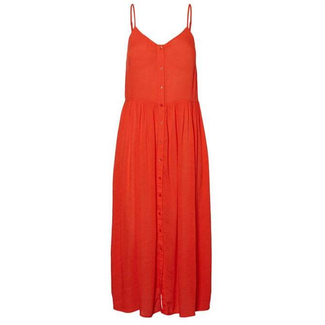 Vero Moda Morning Cherry Tomato Midi Strap Dress