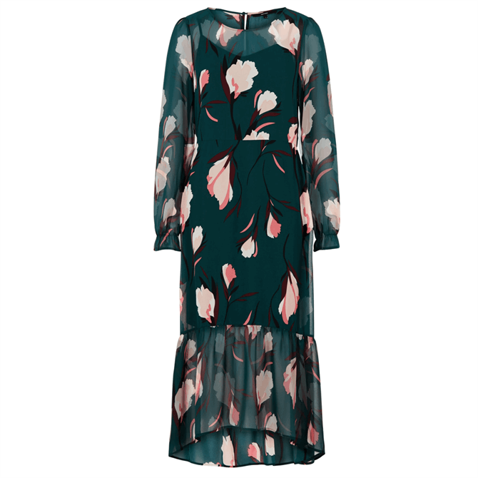 Vero Moda Floral Print Ruffle Trim Midi Dress