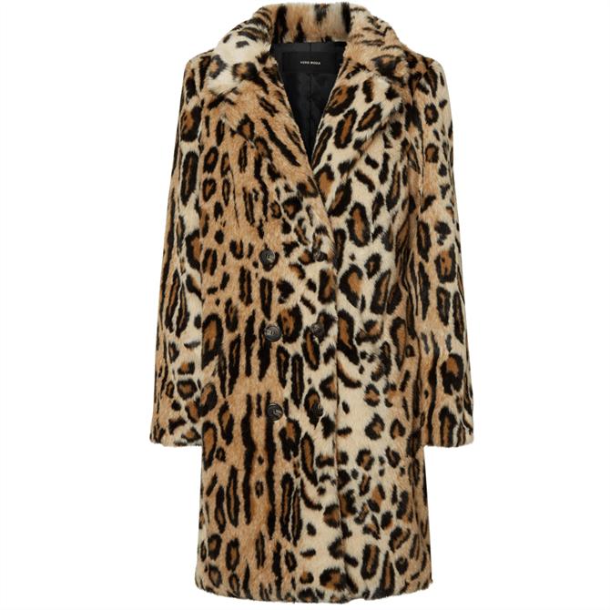 Vero Moda Rio Harper Leopard Print Faux Fur Coat