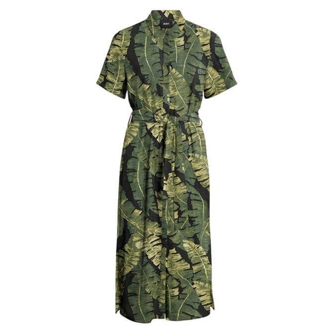 Object Fana Leaf Print Shirt Dress