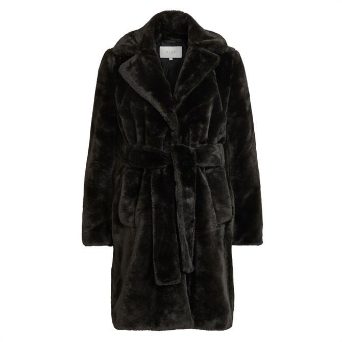 Vila Boda Faux Fur Tie Waist Coat