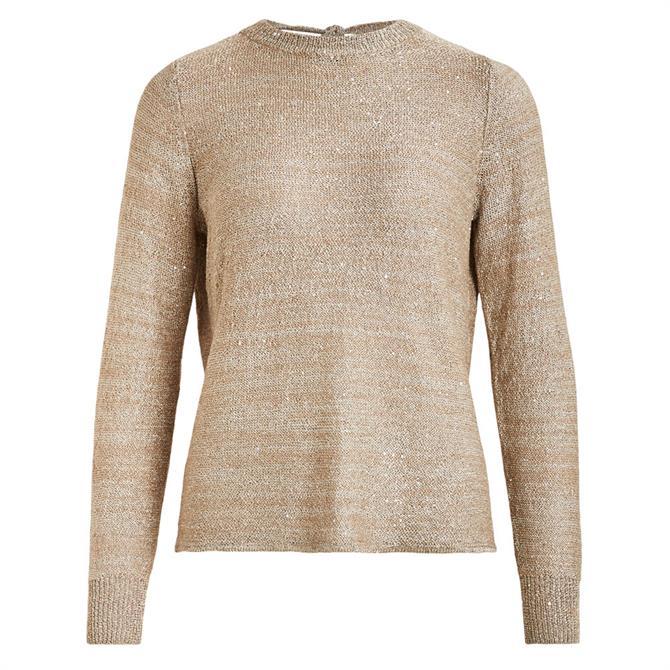 Vila Elivati Sequin Open Back Sweater