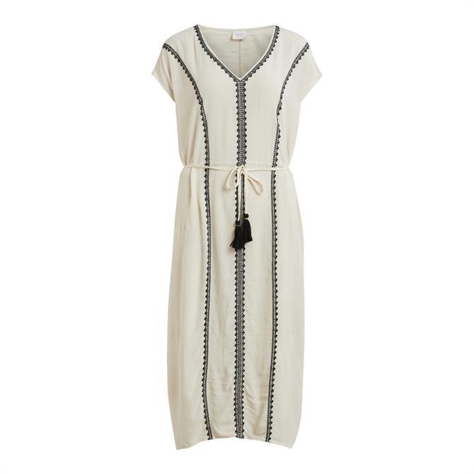 Vila Michelle Embroidered Midi Dress