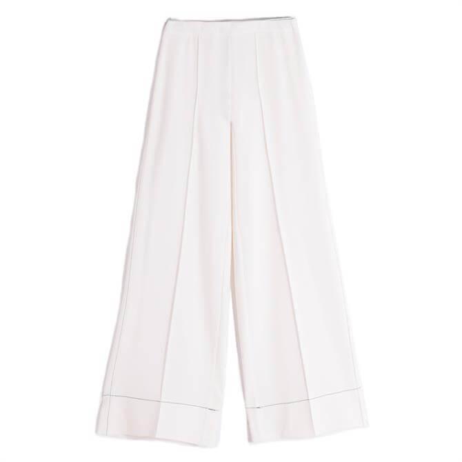 Vilagallo Beatriz White Wide Leg Trousers
