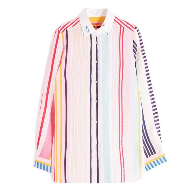 Vilagallo Dover Linen Stripe Embroidered Shirt